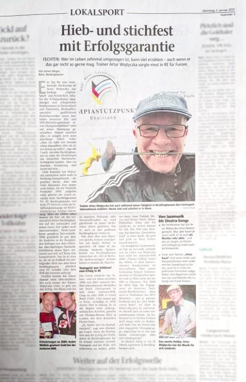 Recklinghaeuser Zeitung 05.01.2021 Artikel Thumb